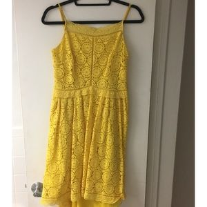 Joie Yellow Crochet Floral Dress Size S